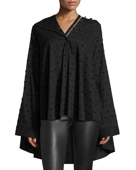 PALMER//HARDING Jasmin Oversized Button-Front Shirt in Black Pattern