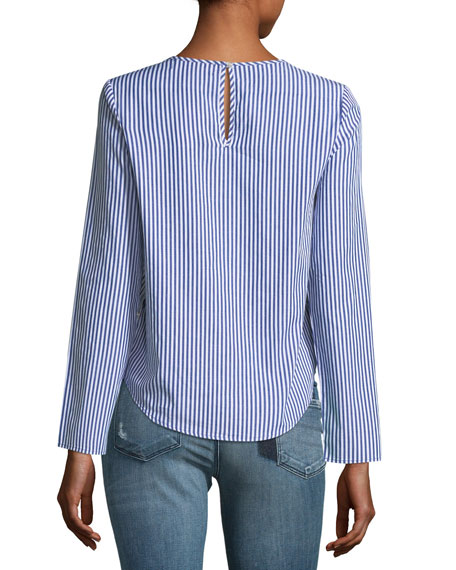 Embroidered Striped Poplin Top