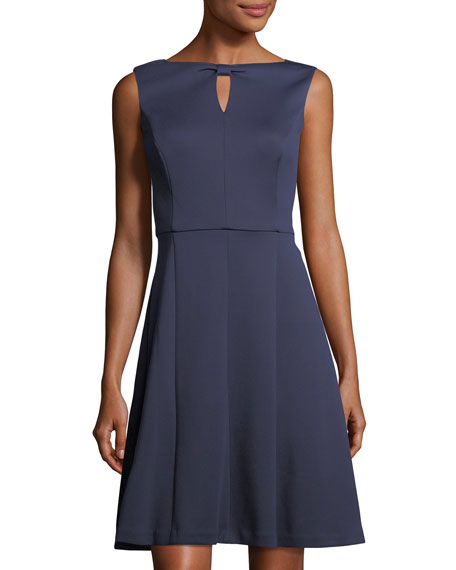 Ellen Tracy Knot-Keyhole Knit Dress