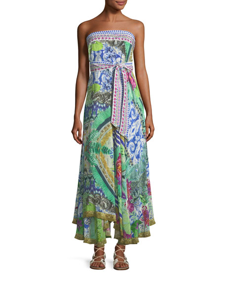 Camilla Strapless Multi-Wear Printed Silk Sarong/Dress Coverup,
