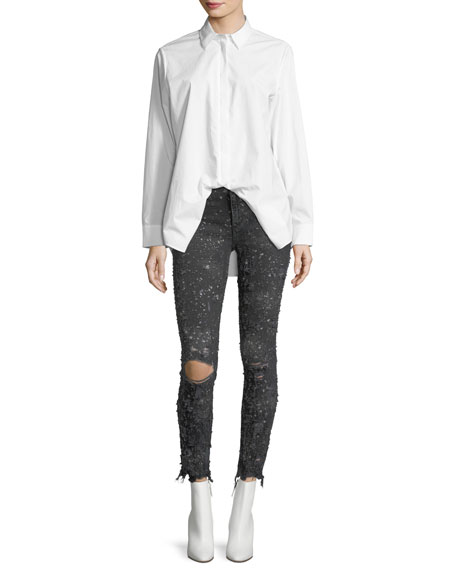 Destroyed Skinny-Leg Raw-Hem Jeans