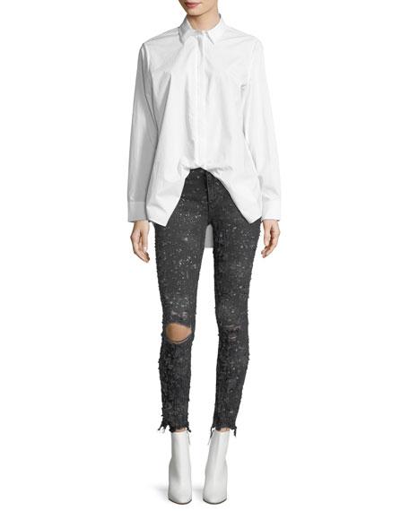 Destroyed Skinny-Leg Raw-Hem Jeans