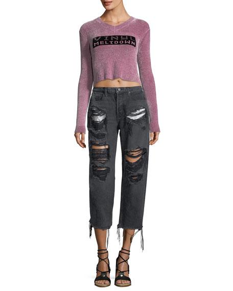 Rival Destroyed Cropped Boyfriend Jeans w/ Pocket Detail