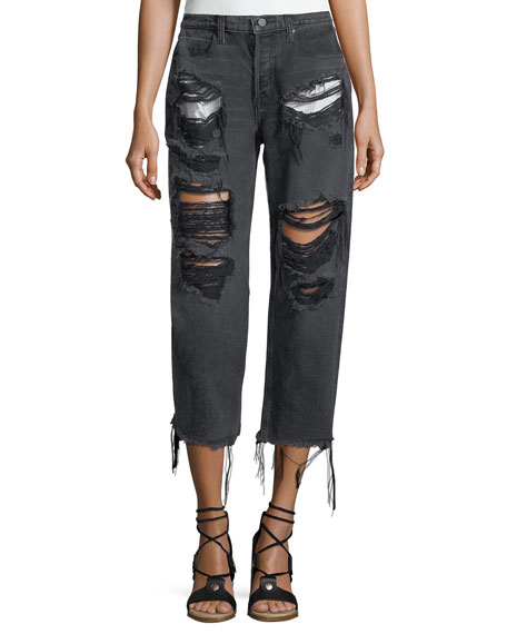 T by Alexander Wang Rival Destroyed Cropped Boyfriend