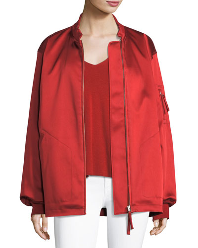 Water-Resistant Classic Sateen Bomber Jacket