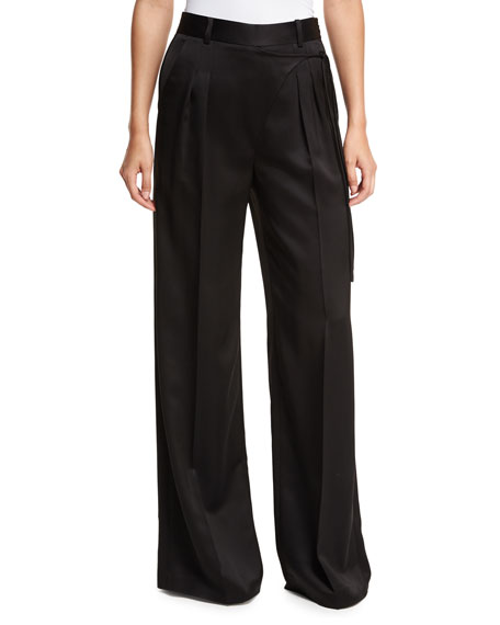 Satin Suiting Wide-Leg Wrap-Front Pants w/ Side-Tie