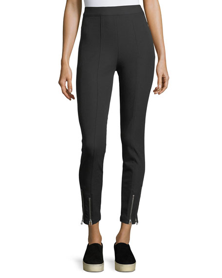 T by Alexander Wang Stretch-Cotton Fitted Pants w/