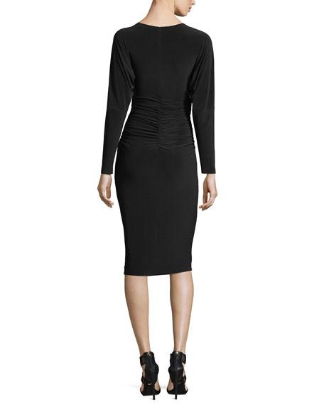 Dolman-Sleeve Shirred-Waist Cocktail Dress