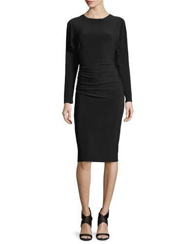 Dolman-Sleeve Shirred-Waist Cocktail Dress
