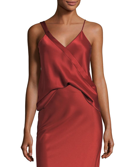 Heavy Draped Satin Sleeveless Tank
