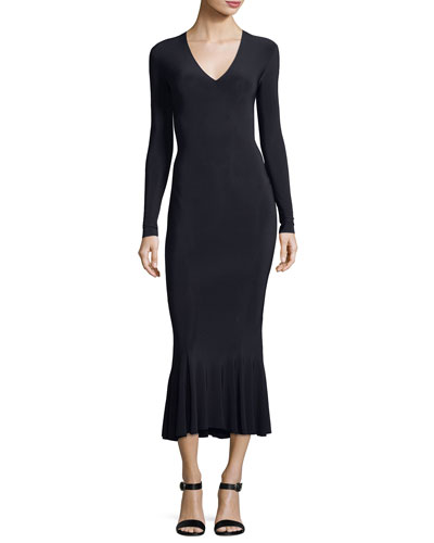 Long-Sleeve V-Neck Fishtail Midi Cocktail Dress