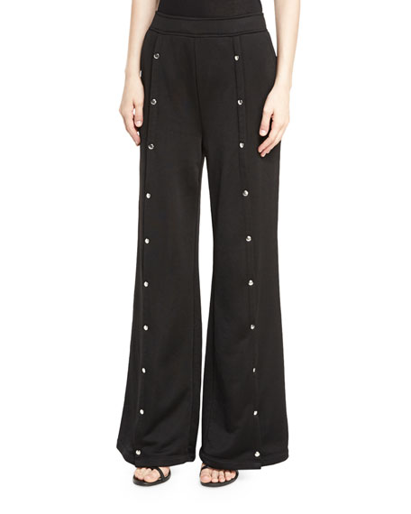 Sleek French-Terry Wide-Leg Pull-On Pants w/ Snaps