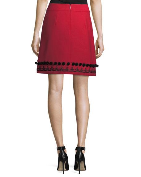 pompom embroidered a-line skirt