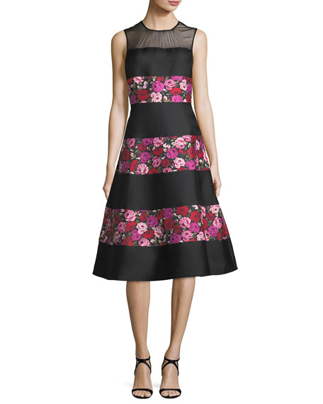 sleeveless salon rose palma fit-and-flare dress