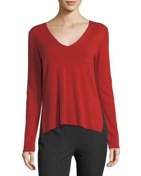 V-Neck Long-Sleeve Viscose-Blend Sweater