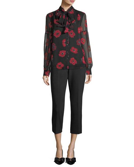 long-sleeve tie-neck poppy chiffon silk blouse