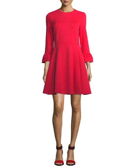 3/4-sleeve ponte fit-&-flare dress