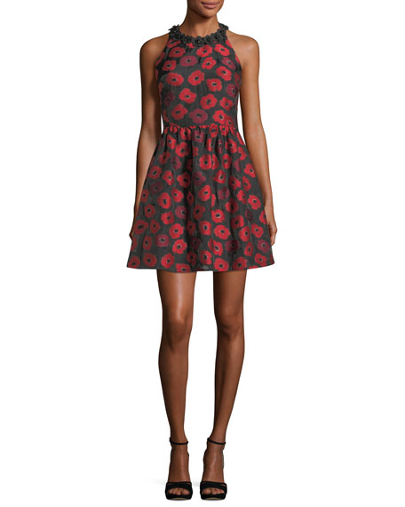 kate spade new york sleeveless t-back poppy jacquard
