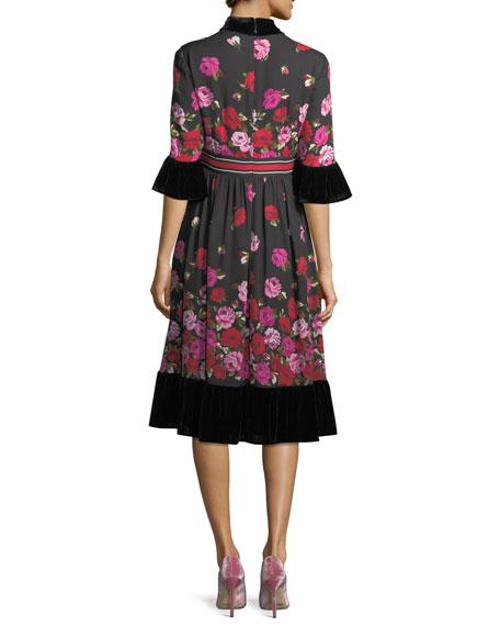 dru bell-sleeve tie-neck scattered rose dress