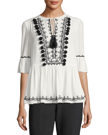 embroidered tie-neck peplum top