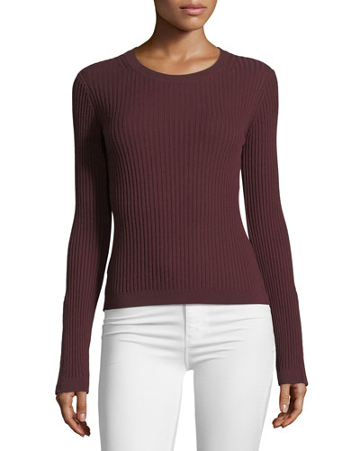 Crewneck Wide-Rib Long-Sleeve Sweater