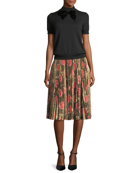 hazy rose pleated lame a-line skirt