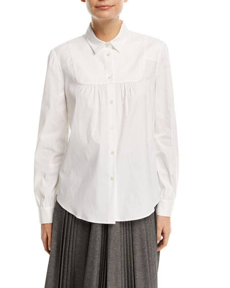 Long-Sleeve Button-Front Stretch-Poplin Bib Shirt