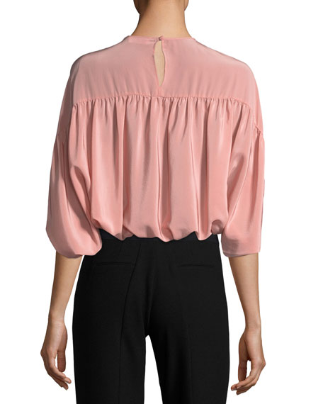 Gathered Silk Crepe de Chine Batwing Blouse