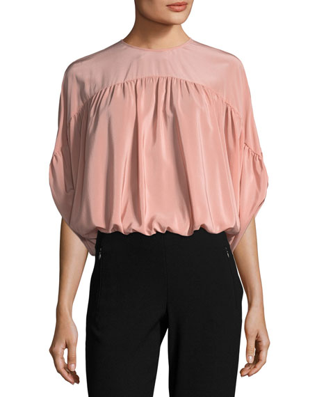 REDValentino Gathered Silk Crepe de Chine Batwing Blouse