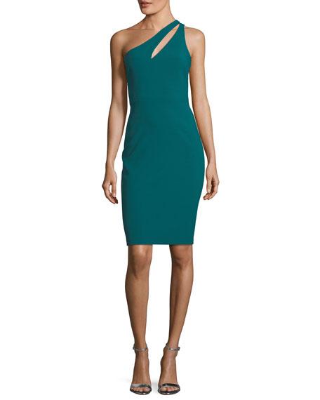 Allison One-Shoulder Ponte Sheath Cocktail Dress