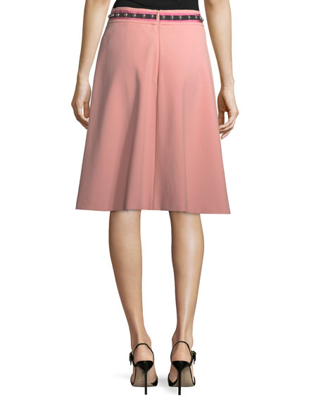 Crepe Skirt w/ Ribbon & Stud Trim