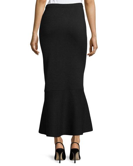 Pull-On Knit Flared-Hem Wool Maxi Skirt