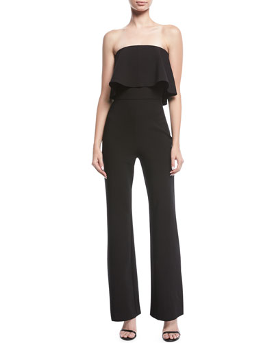 Driggs Popover Strapless Straight-Leg Crepe Jumpsuit