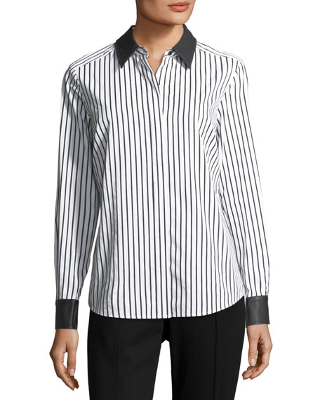 Leather-Trim Striped Poplin Shirt
