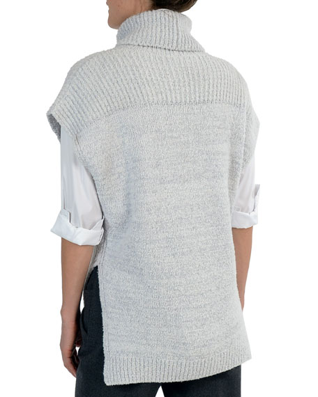 Short Dolman-Sleeve Boucle Turtleneck Pullover