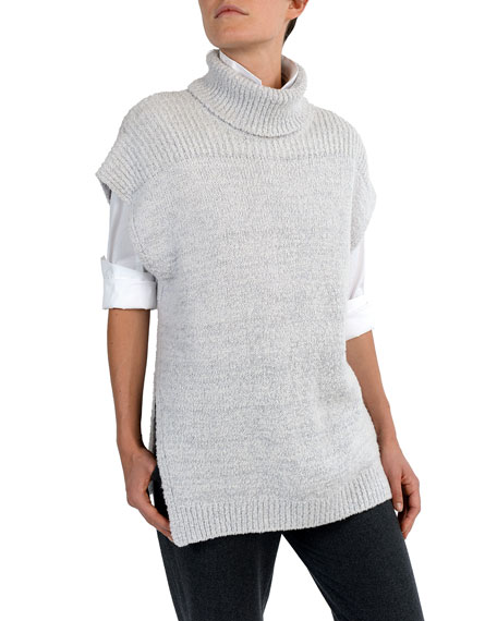 Eleventy Short Dolman-Sleeve Boucle Turtleneck Pullover