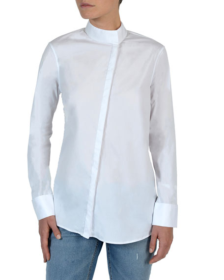 Eleventy Long-Sleeve Asymmetric Button-Front Poplin Blouse