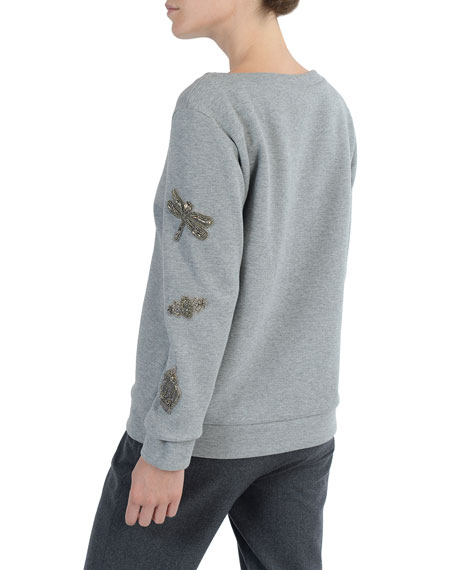 Felted Jersey Pullover w/ Beaded Appliqué Trim