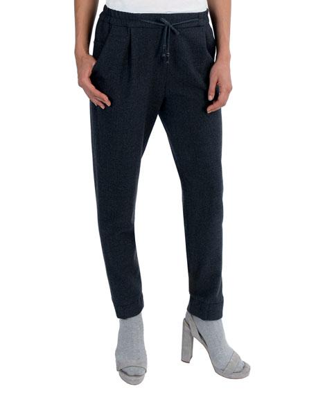 Eleventy Stretch-Wool Drawstring Jogger Pants