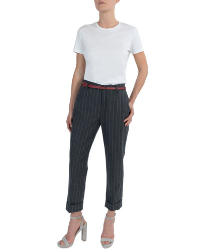 Pinstriped Stretch-Wool Cuffed Trousers