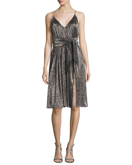 Halston Heritage Sleeveless V-Neck Lurex?? Jersey Midi Dress