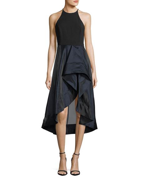 High-Neck Sleeveless Cocktail Dress w/ Flounce Skirt