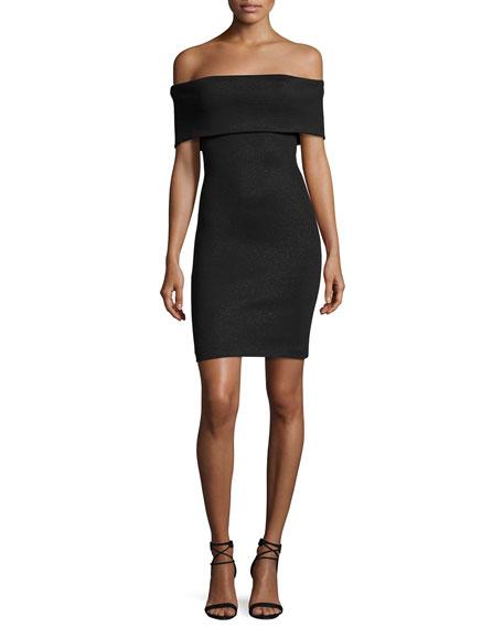 Off-the-Shoulder Fitted Shimmer Knit Cocktail Dress