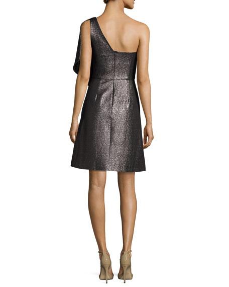 One-Shoulder Fit-and-Flare Shimmer Knit Cocktail Dress
