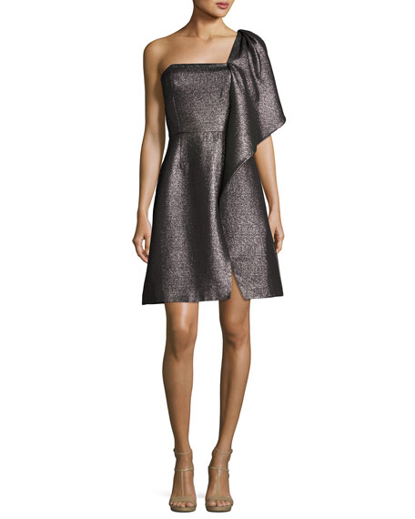 Halston Heritage One-Shoulder Fit-and-Flare Shimmer Knit Cocktail