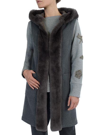 Long Rabbit Fur-Trimmed Double-Faced Cashmere Vest
