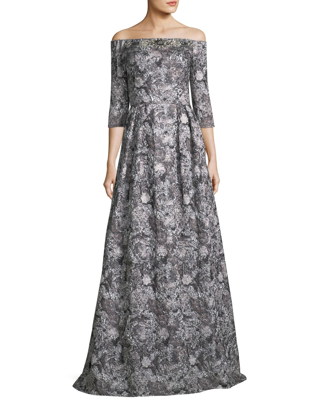 Theia Off-the-Shoulder Metallic Brocade 3/4 Sleeve Evening Gown ...