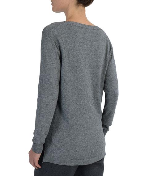 V-Neck Mixed-Yarn Sweater