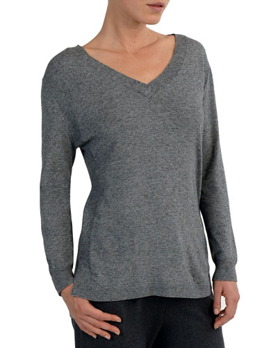 V-Neck Mixed-Yarn Sweater