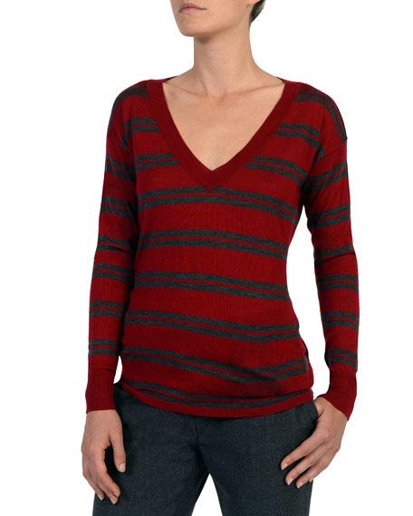 Striped V-Neck Wool-Blend Sweater